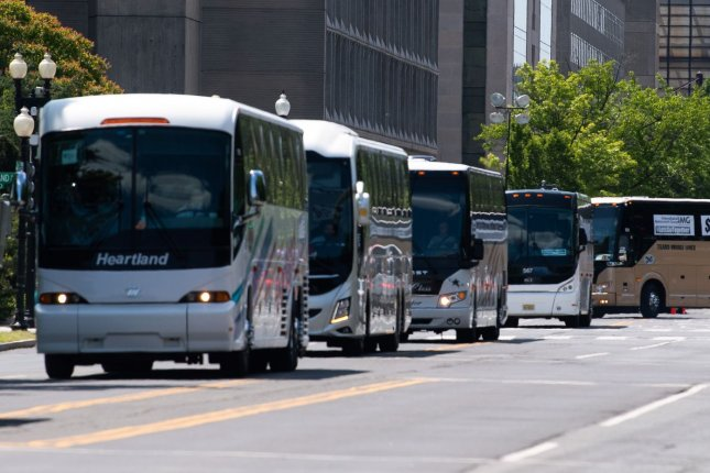 Bus travel may be risky during the COVID-19 pandemic, a new study has found. Photo by Kevin Dietsch/UPI