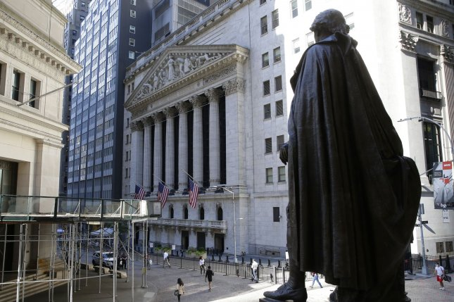 The Dow Jones Industrial Average fell nearly 98 points as Congress failed to produce a new stimulus package but tech stocks helped to prevent larger gains as Snap soared 28%. Photo by John Angelillo/UPI