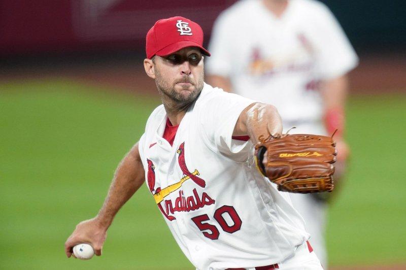 St. Louis Cardinals starting pitcher Adam Wainwright had a 5-3 record and 3.15 ERA in 10 starts last season. File Photo by Bill Greenblatt/UPI
