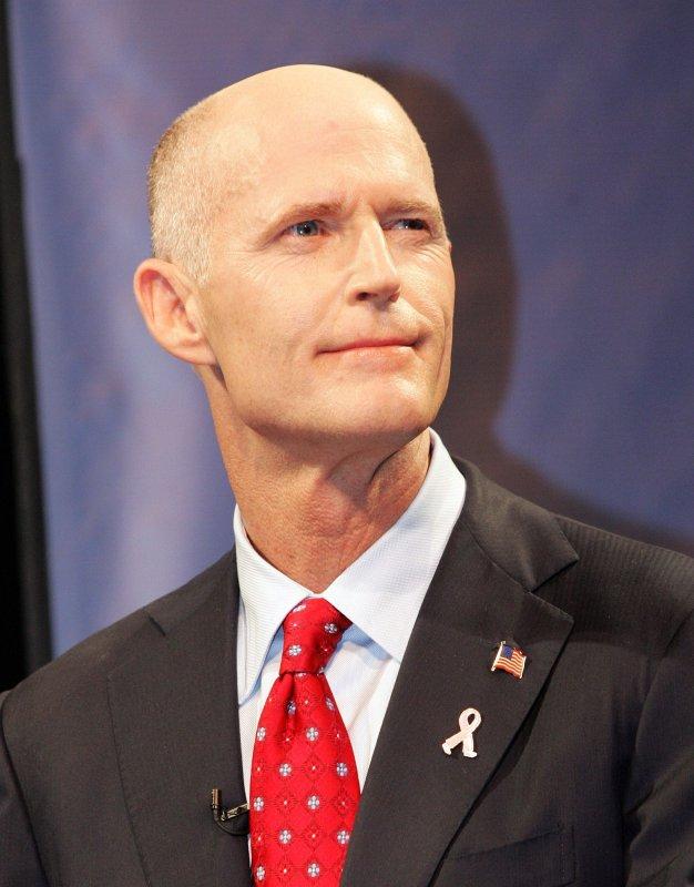 Florida Gov. Rick Scott, then a candidate, participates in a debate at Nova Southeastern University with Democrat Alex Sink in Davie, Florida on October 20, 2010. UPI/Martin Fried