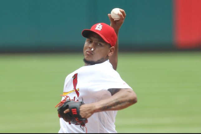 St. Louis Cardinals starting pitcher Carlos Martinez delivers a pitch to the San Diego Padres in the second inning at Busch Stadium in St. Louis on July 20, 2016. Martinez suffered a bloody nose earlier in the inning with trainers stopping the blood flow with cotton. Photo by Bill Greenblatt/UPI