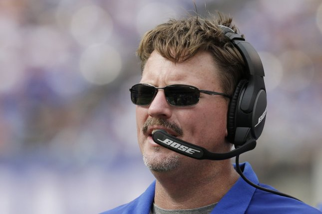 New York Giants head coach Ben McAdoo stands on the sidelines in the 4th quarter against the New Orleans Saints in week 2 of the NFL at MetLife Stadium in East Rutherford, New Jersey on September 18, 2016. The Giants defeated the Saints 16-13. Photo by John Angelillo/UPI