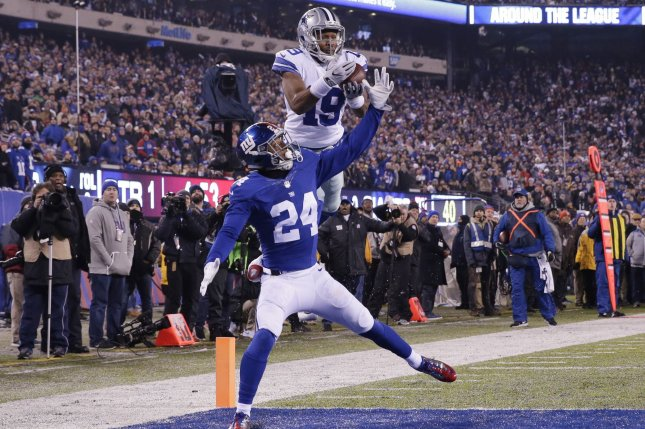 18f240d2001 New York Giants Eli Apple defends Dallas Cowboys Brice Butler who drops a  pass near the end zone in the first quarter in week 14 of the NFL at  MetLife ...