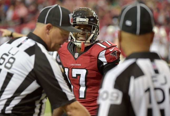 Former Atlanta Falcons receiver Devin Hester reacts as officials nullify a potential Hester touchdown run because of a penalty during a game against the Arizona Cardinals in 2014. File photo by David Tulis/UPI