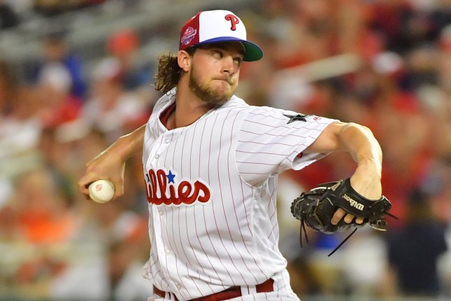 Aaron Nola and the Philadelphia Phillies take on the Atlanta Braves on Sunday. Photo by Kevin Dietsch/UPI