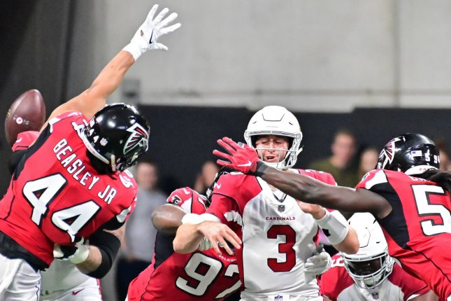 The Arizona Cardinals have backed Josh Rosen (3) as their starting quarterback for 2019, despite being linked to Oklahoma star Kyler Murray in the 2019 NFL Draft. Rosen said he is OK after getting into a traffic accident Saturday in Los Angeles. File Photo by David Tulis/UPI