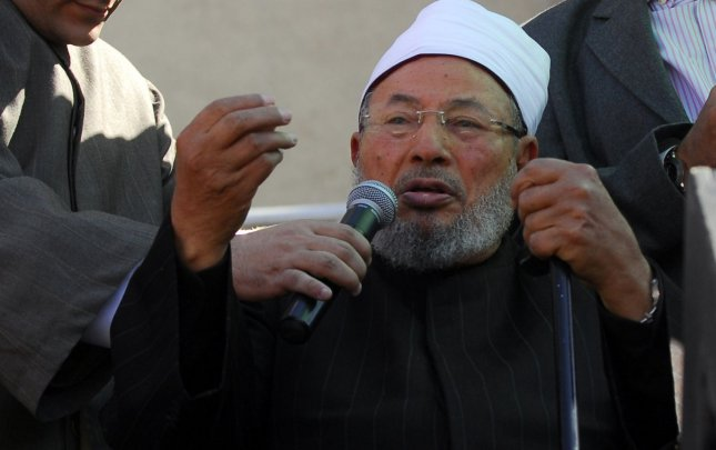 Egyptian-born Muslim cleric, Sheik Yusuf al-Qaradawi, delivers prayer as thousands of Egyptians gathered in Cairo's Tahrir Square during celebrations marking the one week since the resignation of Egypt's long-time president Hosni Mubarak, February 18, 2011. Mubarak was forced out of office after waves of unprecedented civil protest. UPI