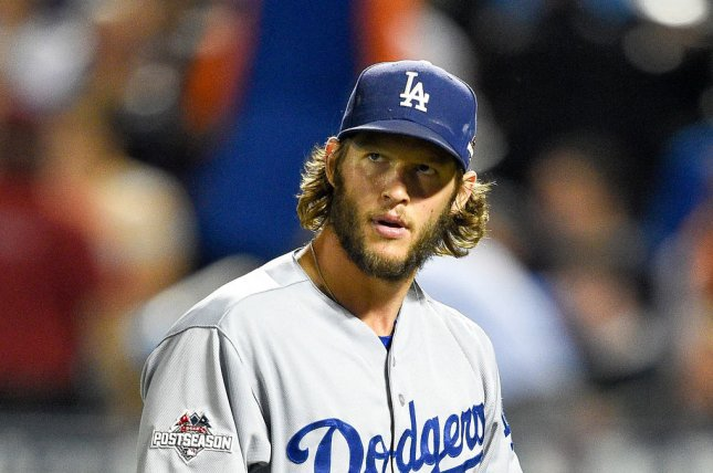 Los Angeles Dodgers starting pitcher Clayton Kershaw (22). Photo by Rich Kane/UPI
