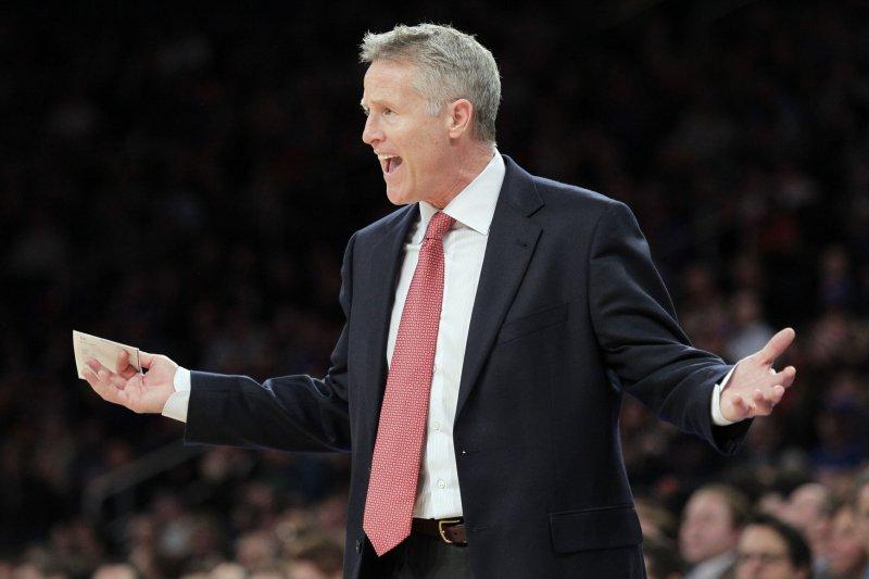 Philadelphia 76ers coach Brett Brown. UPI/John Angelillo