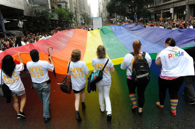 Participants march in support of gay rights at the 2015 NYC Gay Pride March in New York City on June 28, 2015. On August 11, 2007, the Evangelical Lutheran Church voted to lift a ban on gay clergy members. File Photo by Dennis Van Tine/UPI