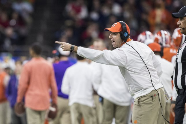 Clemson head coach Dabo Swinney shouts instructions to his team in the first quarter of the Allstate Sugar Bowl against Alabama on January 1, 2018 at the Mercedes-Benz Superdome in New Orleans. Photo by Mark Wallheiser/UPI