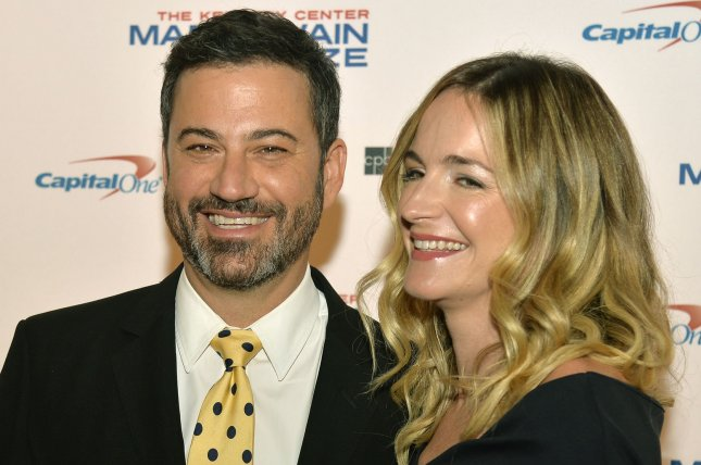 Crank Yankers co-creator and executive producer Jimmy Kimmel (L) and his wife Molly McNearney arrive at the John F. Kennedy Center for the Performing Arts on October 2017. Comedy Central has ordered 20 more episodes of the Crank Yankers revival. File Photo by Mike Theiler/UPI