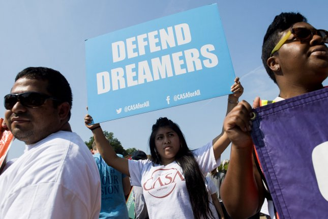 Immigration rights supporters protest the Trump administration's efforts to end the Deferred Action for Childhood Arrivals program, near the White House in Washington, D.C., onSeptember 5, 2017. File Photo by Kevin Dietsch/UPI