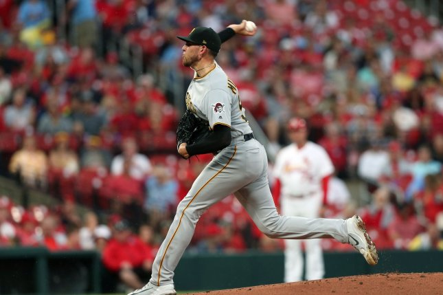 Former Pittsburgh Pirates starting pitcher Joe Musgrove has a 2-0 record and 0.00 ERA over his first two starts this season, his first with the San Diego Padres. File Photo by Bill Greenblatt/UPI