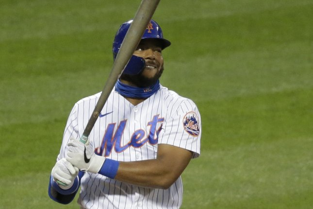 New York Mets outfielder Dominic Smith, shown Sept. 4, 2020, was involved in the dustup with Philadelphia Phillies relief pitcher Jose Alvarado on Friday. Alvarado was given a three-game ban, while Smith was fined an undisclosed amount. File Photo by John Angelillo/UPI
