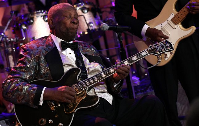 Blues legend B.B. King performs with an all-star cast at a White House event titled In Performance at the White House: Red, White and Blues February 21, 2012 in Washington, DC. As part of the In Perfomance series, music legends and contemporary major artists have been invited to perform at the White House for a celebration of Blues music and in recognition of Black History Month. The program featured performances by Troy Trombone Shorty Andrews, Jeff Beck, Gary Clark, Jr., Shemekia Copeland, Buddy Guy, Warren Haynes, Mick Jagger, Keb Mo, Susan Tedeschi and Derek Trucks, with Taraji P. Henson as the program host and Booker T. Jones as music director and band leader. UPI/Win McNamee/Pool