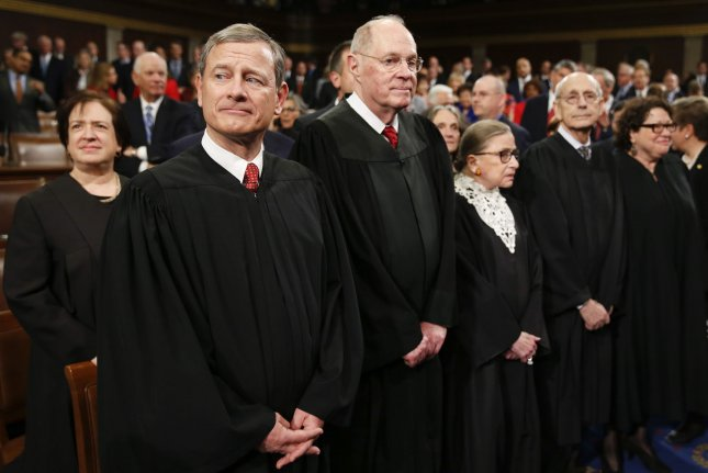 The U.S. Supreme Court justices, seen here at the State of the Union address on January 12, refused Tuesday to hear the latest challenge to the Affordable Care Act. Pool photo by Evan Vucci/UPI