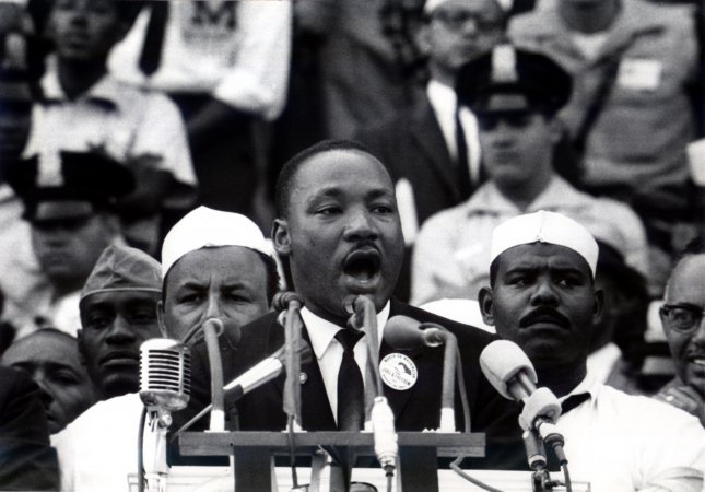 The Rev. Martin Luther King Jr. delivers his famed I Have a Dream speech from the steps of the Lincoln Memorial, on August 28, 1963. The speech galvanized the nation's civil rights movements and led to the passage of the 1964 Civil Rights Act, the 1965 Voting Rights Act and the 1968 Fair Housing Act. UPI File Photo