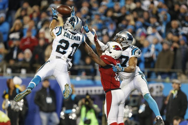 Carolina Panthers safety Kurt Coleman (20) intercepts an Arizona Cardinals pass in the second half of the NFC Championship Game on January 24, 2016 at Bank of America Stadium in Charlotte, North Carolina. File photo by Brian Westerholt/UPI