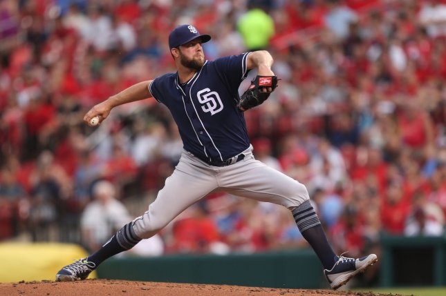 Former San Diego Padres starting pitcher Jordan Lyles delivers a pitch to the St. Louis Cardinals in the third inning on June 11 at Busch Stadium in St. Louis. Photo by Bill Greenblatt/UPI