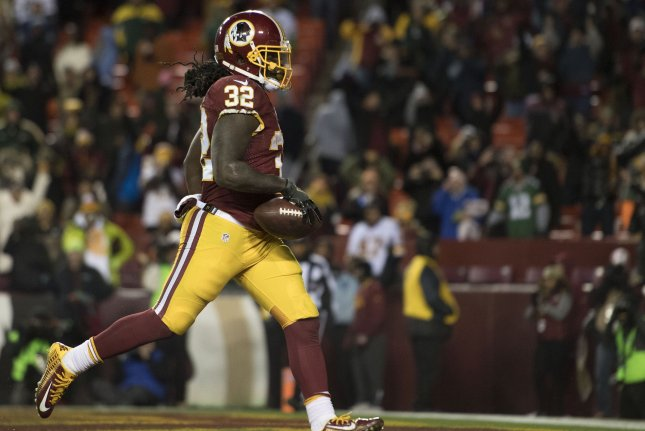 Washington Redskins running back Rob Kelley rushes for a touchdown against the Green Bay Packers in the fourth quarter in Landover, Maryland on November 20, 2016. Photo by Kevin Dietsch/UPI