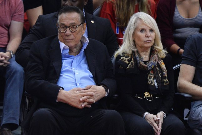 Los Angeles Clippers owner Donald Sterling sits court side with his wife, Rochelle Sterling on April 19. UPI/Jim Ruymen