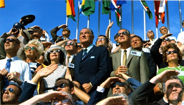 Spectators, including Vice President Spiro Agnew and former President Lyndon B. Johnson (C), view the liftoff of Apollo 11 from pad 39A at Kennedy Space Center, Flordia at 9:32 am EDT on July 16, 1969. File photo by NASA/UPI