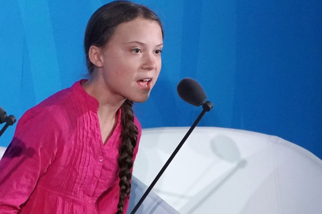 Swedish activist Greta Thunberg speaks on September 23 at the Climate Action Summit at the 74th General Debate at the United Nations General Assembly in New York City. File Photo by Jemal Countess/UPI