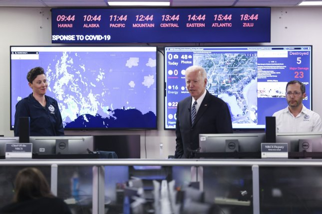President Joe Biden talks to employees at FEMA headquarters on Monday after receiving a briefing on the Atlantic Hurricane Outlook and preparedness efforts at FEMA Headquarters in Washington, D.C. Photo by Oliver Contreras/UPI