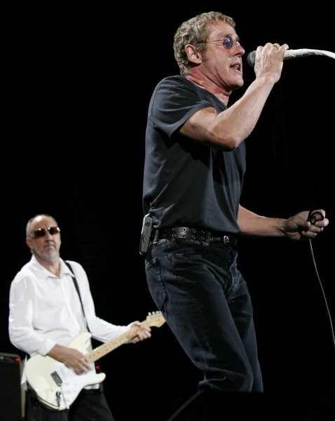 Singer Roger Daltry (R) and guitarist Pete Townshend of the band The Who, perform in concert at Bercy in Paris on June 6, 2007. (UPI Photo/David Silpa)