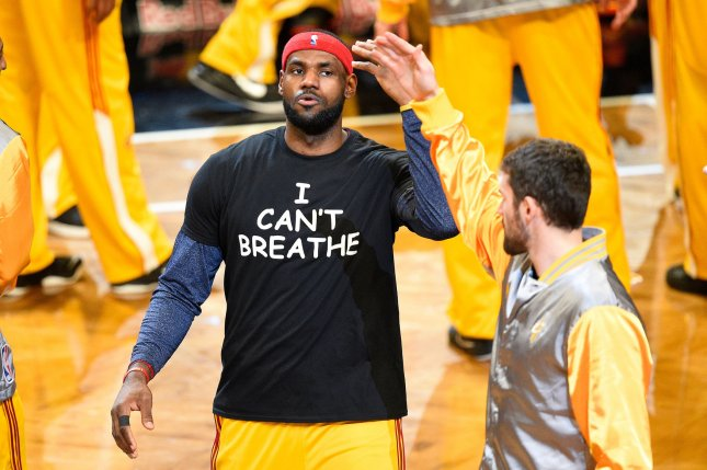 Outspoken Cleveland Cavaliers forward LeBron James wore a I can't Breathe t shirt to honor the fallen Eric Garner before the start of a game against the Brooklyn Nets in New York City on December 8, 2014. UPI/Rich Kane