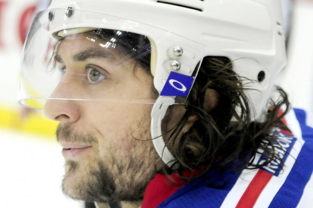 New York Rangers right wing Mats Zuccarello (36). Photo by Archie Carpenter/UPI
