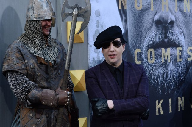 Marilyn Manson attends the premiere of the motion picture fantasy King Arthur: Legend of the Sword at TCL Chinese Theatre in the Hollywood section of Los Angeles on May 8, 2017. The singer turns 50 on January 5. File Photo by Jim Ruymen/UPI