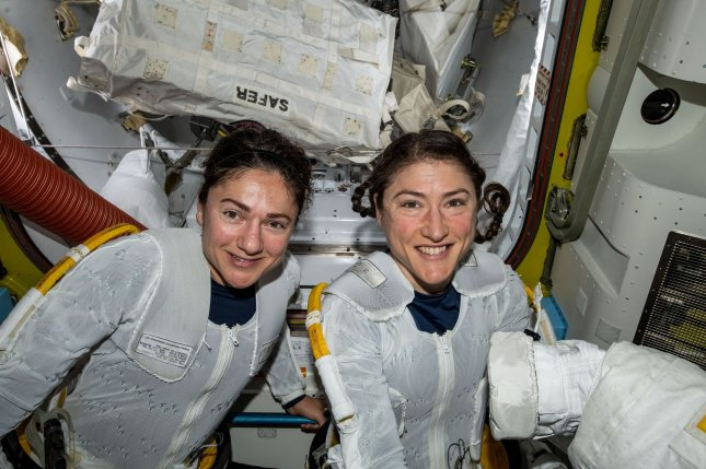 NASA astronauts Christina Koch (R) and Jessica Meir, shown in space together in 2019, are among the astronauts who will train for NASA's Artemis lunar missions. Photo courtesy of NASA