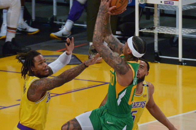 Utah Jazz guard Jordan Clarkson (00), shown April 19, 2021, finished ahead of teammate Joe Ingles for the league's Sixth Man of the Year award. New York Knicks guard Derrick Rose came in third in voting. File Photo by Jim Ruymen/UPI