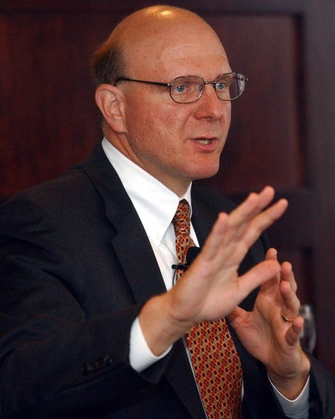 SLP2002082808- ST. LOUIS, Aug. 28 (UPI) -- Steve Ballmer, CEO of Microsoft Corportation, answers a question during a meeting with business executives in St. Louis on Aug. 28, 2002. jg/bg/Bill Greenblatt UPI