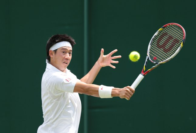 Kei Nishikori, shown in a match at this year's Wimbledon Championships, was a three-set winner Tuesday at the Japan Open. Nishikori is the defending champion of the tournament. UPI/Hugo Philpott