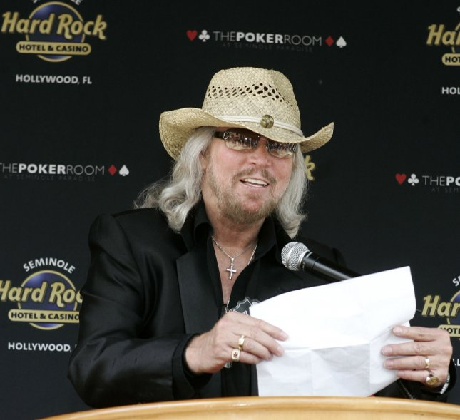 Singer, songwriter Barry Gibb kicks off a charity poker tournament at the Seminole Hard Rock Hotel and Casino in Hollywood, Florida on May 30, 2008. The tournament benefits The Miami Beach Health Foundation which Gibb is co-chairman of the board of directors. (UPI Photo/Michael Bush)