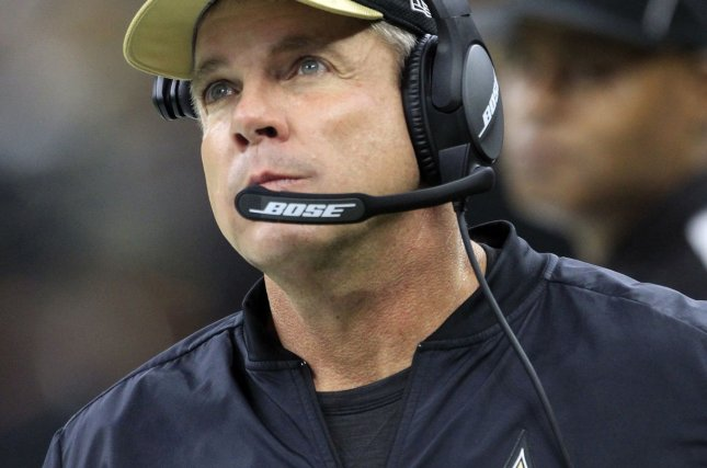 New Orleans Saints head coach Sean Payton looks up at the scoreboard late in the game with the Atlanta Falcons on September 26, 2016. The Saints are 4-6 headinf into Thanksgiving. Photo by AJ Sisco/UPI