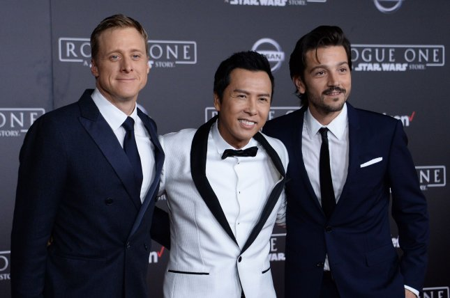 Cast members Alan Tudyk, Donnie Yen and Diego Luna (L-R) attend the premiere of the sci-fi motion picture Rogue One: A Star Wars Story' in Los Angeles on December 10, 2016. File Photo by Jim Ruymen/UPI