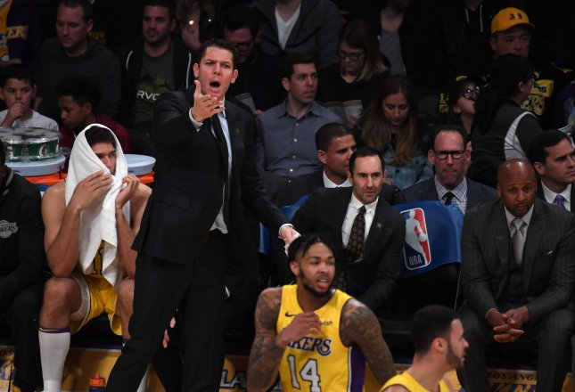 Los Angeles Lakers coach Luke Walton shouts from the sidelines during a game against the Boston Celtics at Staples Center on Jan. 23 in Los Angeles. Photo by Jon SooHoo/UPI