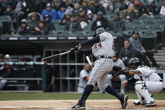 Detroit Tigers first baseman Miguel Cabrera (24) singles against the Chicago White Sox in the first inning on April 5 at Guaranteed Rate Field in Chicago, Ill. Photo by Kamil Krzaczynski/UPI