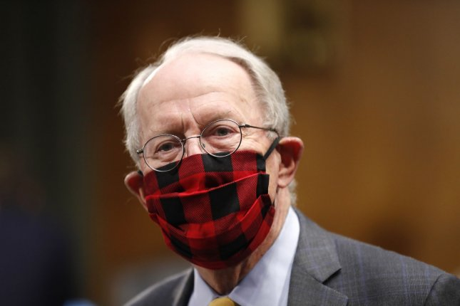 Chairman Sen. Lamar Alexander, R-Tenn., wears a plaid face mask before a Senate Health Education Labor and Pensions Committee hearing on new coronavirus tests on Capitol Hill in Washington, D.C., on Thursday. Pool Photo by Andrew Harnik/UPI