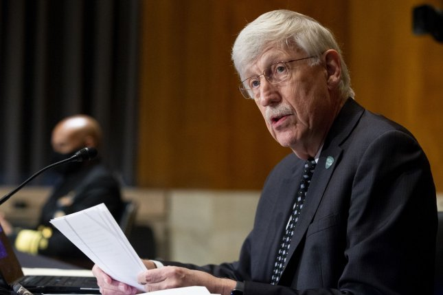 Dr. Francis Collins, director of the National Institutes of Health, appears Wednesday before the Senate Health, Education, Labor and Pensions  Committee hearing on the safety of vaccines. Photo by Michael Reynolds/UPI