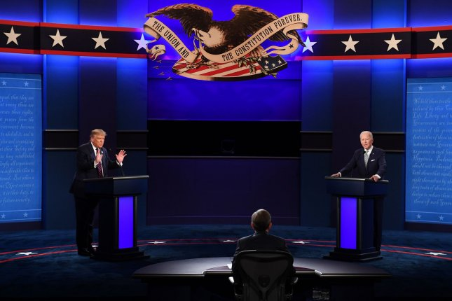 U.S. President Donald Trump (L) and Democratic presidential nominee Joe Biden (R), with Chris Wallace moderating, face off in their first debate last Tuesday. A parody of the event aired on this weekend's edition of Saturday Night Live. Photo by Kevin Dietsch/UPI