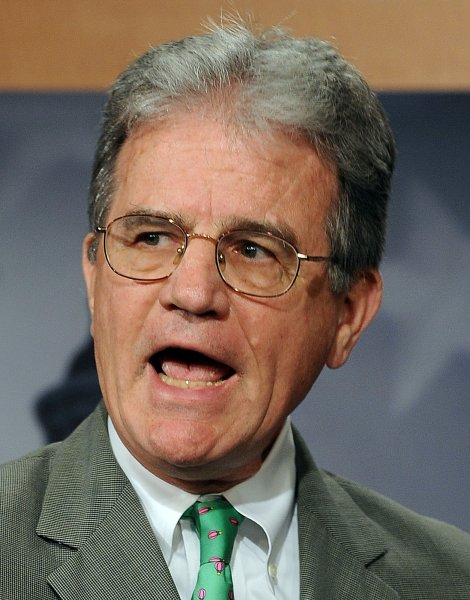 Sen. Tom Coburn, R-OK, discusses wasteful government spending during a news conference on Capitol Hill in Washington on August 3, 2010. UPI/Roger L. Wollenberg