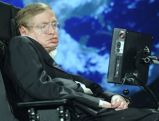 Stephen Hawking, astro-physicist and professor at the University of Cambridge, has developed a documentary with the U.S. cable Discovery Channel in which the physicist's views of the universe -- including extraterrestrial life -- are explored. He is shown in an April 2008 file photo. (UPI Photo/Kevin Dietsch/FILE)