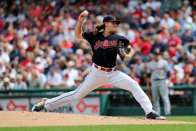 Cleveland Indians Mike Clevinger pitches in the second inning of a game against the Detroit Tigers at Progressive Field in Cleveland, Ohio on Wednesday. Photo by Aaron Josefczyk/UPI