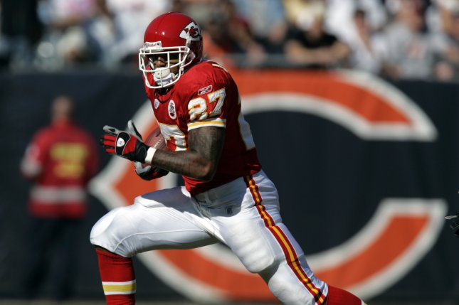 Former Kansas City Chiefs running back Larry Johnson turns up the field for a four-yard gain against the Chicago Bears in the first quarter of their game at Soldier Field in Chicago. File photo by Mark Cowan/UPI