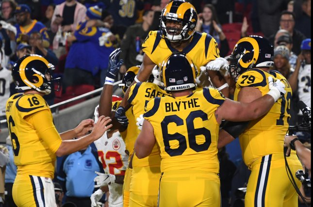 Rams receiver Robert Woods celebrates his first quarter touchdown against the Chiefs in Los Angeles Monday night. Photo by Jon SooHoo/UPI